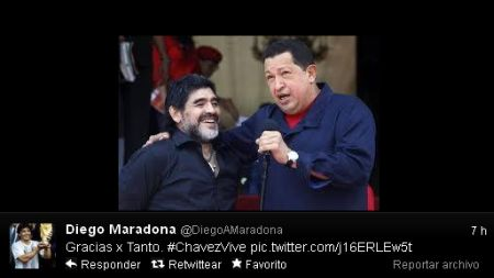 Maradona llora partida de Hugo Chvez